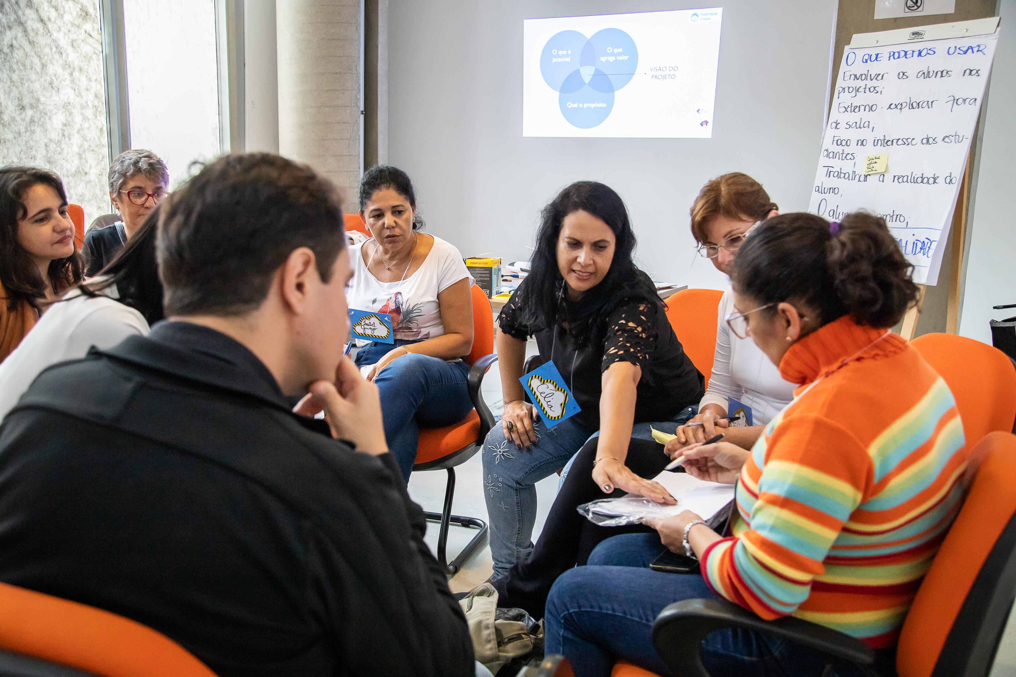 Grupo de professores, organizados em círculo, discutem e trabalham em grupo