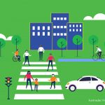 Ilustração de uma rua com pessoas atravessando a faixa de pedestres enquanto um carro está parado. Há um homem andando de bicicleta, um cadeirante, árvores e prédios.