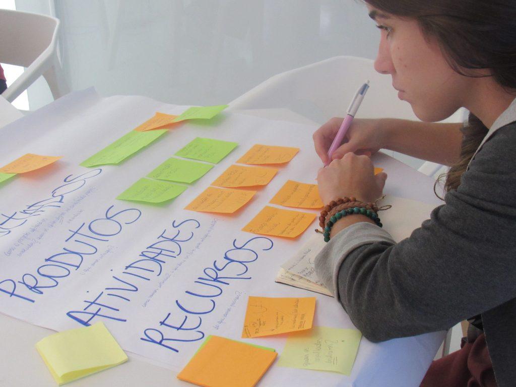 Foto de uma mulher escrevendo em um post it. Ele está em cima de um cartaz com outros post its colados.