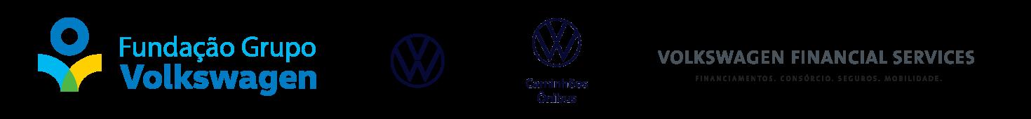 Régua com logos de: Fundação Volkswagen, Site Volkswagem, Ste Volkswagen Caminções e ônibus e Volkswagen Financial services